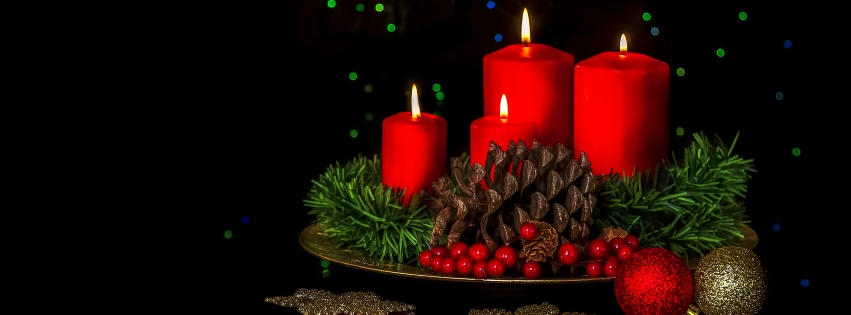 Christmas Candles and Pine cones Facebook Cover