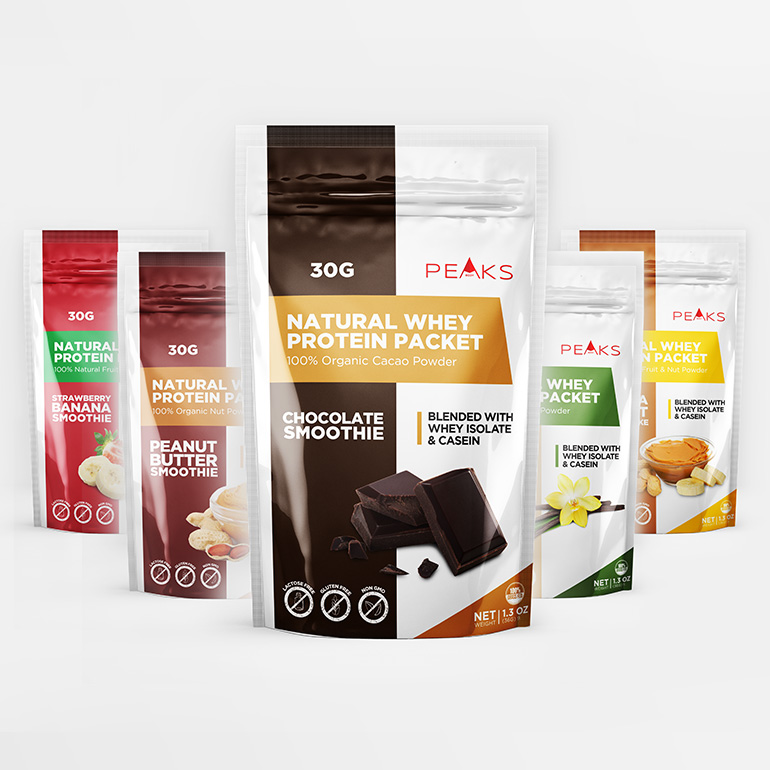 Natural Whey Protein Packet - Packaging Design Portfolio